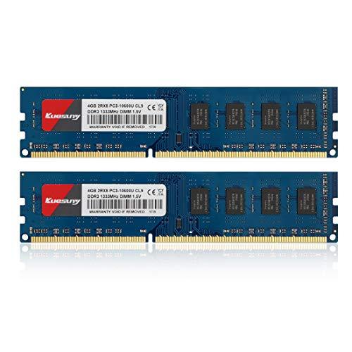 - 8GB Kit (4GBX2) DDR3 1333 Udimm RAM, Kuesuny PC3-10600/PC3-10600U 1.5V CL9 240 Pin Non-ECC Unbuffered Desktop Memory Modules(Blue)