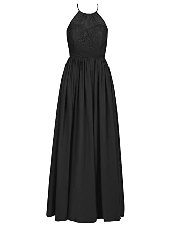 5ccadedb600e Halter Long Bridesmaid Dresses Chiffon Lace Prom Evening Gowns Maxi Wedding  Guest Party Gowns US 2