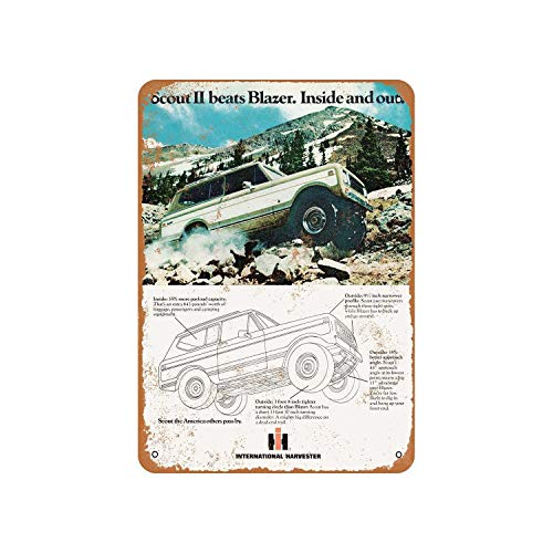 Fhdang Decor Vintage Pattern 1977 International Scout II Vintage Look Metal Sign Aluminum Sign,6x9 Inches