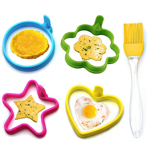 Egg Ring Yubng Silicone for Fried Eggs 4 Pack Non Stick Fried Perfect Fried Egg Mold or Pancake Rings, Egg Cooking Rings for Stunning Breakfasts