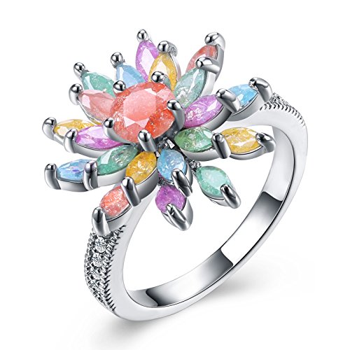 - Aokarry Womens Sterling Silver Ring, Colorful Flower Crystal CZ Promise Ring 17MM Size 7