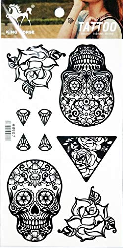 PP TATTOO 1 Sheet Diamond Rose Sugar Skull Cross Christian Flowers Dead Fantasy Temporary Tattoo Stickers Waterproof Body Arm Tattoo Sticker for Men Women Make up Fake Tattoo Removable