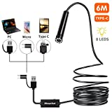 USB Endoscope, Morpilot Borescope Waterproof Inspection Camera 2.0 Megapixels HD Snake Camera with 8 LED Lights for Android and iOS Smartphone, iPhone, Samsung, Tablet -19.6FT