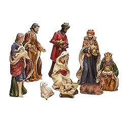 Kurt Adler 9-Inch Porcelain Nativity Figure Tablepiece Set...