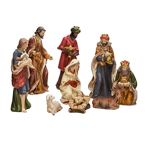 Kurt Adler 9-Inch Porcelain Nativity Figure Tablepiece Set of 9 -