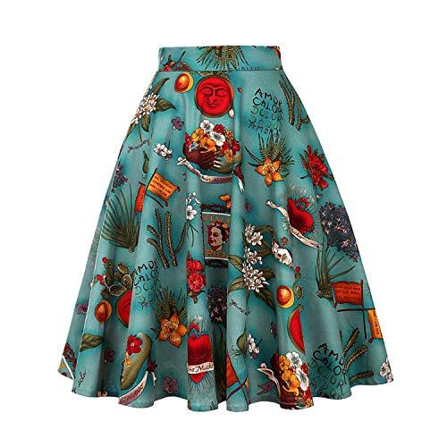 Startreene Jupe Longue Femme  Imprim Floral Crayon Taille Haute Vintage Jupon Coupe Droite Pliss Annes 1950 Audrey Hepburn Style Vert