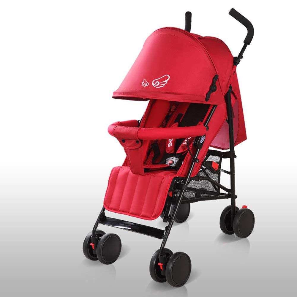 春の屋外ベビーカー、携帯用ベビーカー、折りたたみ式/衝撃吸収/環境保護 - (0-3歳),Red  Red B07PKQ6YM6