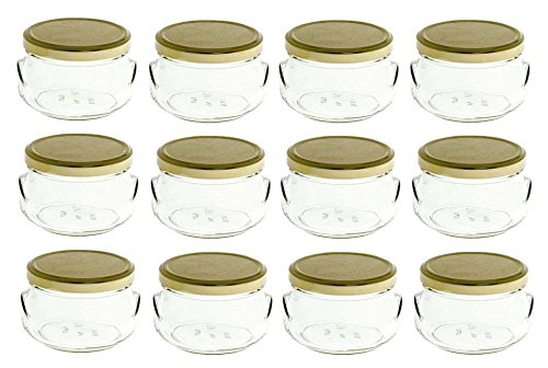 Nakpunar 12 pcs 8 oz Glass Tureen Jars with Gold Lids - 250 ml