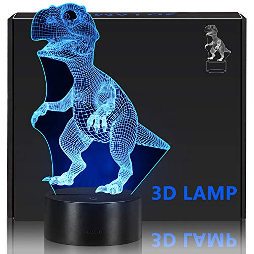 Children's 3D night light, Dinosaur Toys for Children's, 7 LED Colors Changing Lighting, Touch USB Charge Desk Bedroom Decoration, Cool Gifts Ideas Birthday Gift