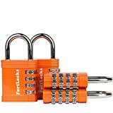 FortLocks Padlock Set - 4 Digit Combination Lock for Gym Outdoor & School Locker, Fence, Case & Shed – Heavy Duty Resettable Set Your Own Combo – Waterproof (Orange, 4 Pack)