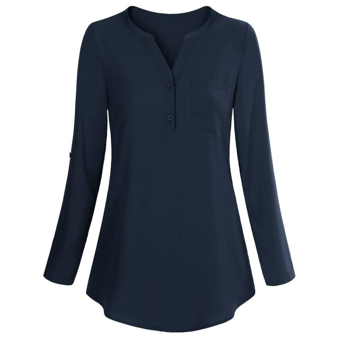 1ef2fe8713d Seaintheson Women Long Sleeve Mandarin Collar Shirt Pleated Button Flare Hem  Tunic Tops Flowy Blouse with Button at Amazon Women's Clothing store: