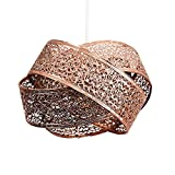 Modern Copper Artistic Detailed Intertwined Rings Design Ceiling Pendant Light Shade - Complete with an 8w LED Filament Bulb [2700K Warm White]