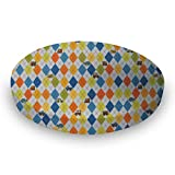SheetWorld Fitted Oval (Stokke Mini) - Argyle Transport Blue - Made In USA