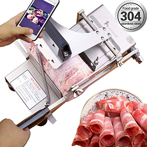 Manual frozen meat ctter slicer machine, 304 food stainless steel and German blade, cut vegetable kitchen products electric cheese bacon ham (Meat Slicer Frozen)