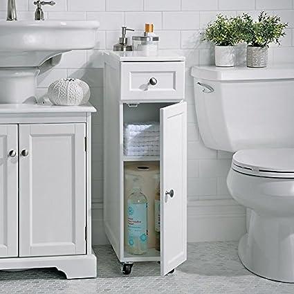 Modern White Slim Spacesaver Rolling Portable Bathroom Storage Cabinet  Cupboard