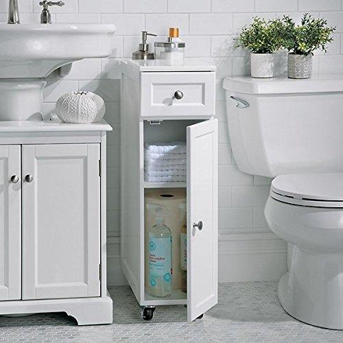Modern White Slim Spacesaver Rolling Portable Bathroom Storage Cabinet Cupboard (Bathroom Cabinets Slim)