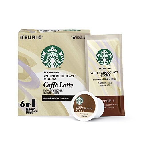 Starbucks White Chocolate Mocha Caffè Latte Medium Roast Single Cup Coffee for Keurig Brewers, 4 boxes of 6 (24 total K-Cup pods)