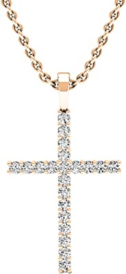 Rose Gold Dazzlingrock Collection 18K Round Lab Created Gemstone Ladies Cross Pendant Silver Chain Included