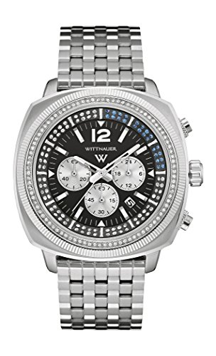 Wittnauer Wn3061 Men's Strainless Steel Silver Band Blue-white Tone Black Dial - Wittnauer Mens Watches