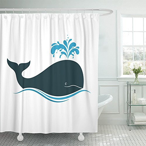 Emvency Blue Spout Whale with Water Fountain Blow Blowhole Splash Spray Wave Save Flat Cartoon Waterproof Shower Curtain Curtains 72