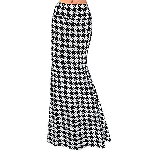 Editha Women Floral Print Maxi Long Skirt High Elastic Waist Slim Full Skirt Summer Foldover Skirts Black Plaid 2XL -