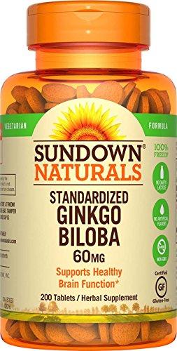 Sundown Ginkgo Biloba Standardized Extract 60 mg, 200 Tablets (Biloba Mg 60 Capsules Ginkgo 200)