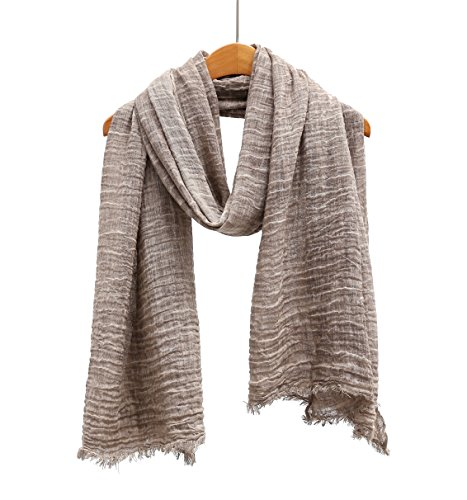 WS Natural Scarf/Shawl/Wrap Linen Feel Scarves For Men And Women. (Cappuccino original)
