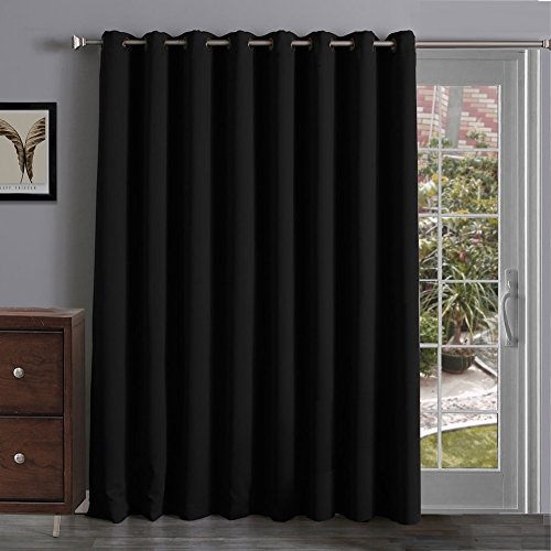 Onlycurtain Thermal Insulated Blackout Patio Door Curtain Panel, Sliding Door Curtains Grommet Ring Top 100W x 84L Inches - Black