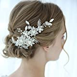 SWEETV Flower Wedding Hair Clip Silver Beaded Bridal Hair Barrette Wedding Hair Accessories for Brides Bridesmaid