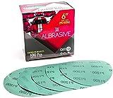 ALbrasives Velcro Hook Loop Sanding Discs 6 Inch No Holes, 100 Pack, Made of Aluminum Oxide, Green Film (P1200 Grit)