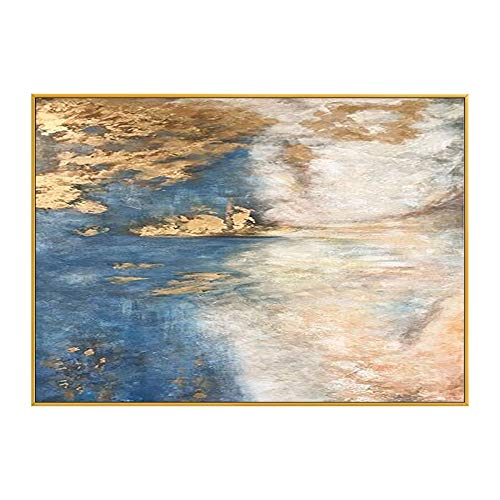 ainted Oil Paintings Oil Painting Hand-Painted Golden Clouds Modern Light Luxury Banner Porch Cabinet Painting Living Room Sofa Background Wall Decorative Painting,80×120Cm ()