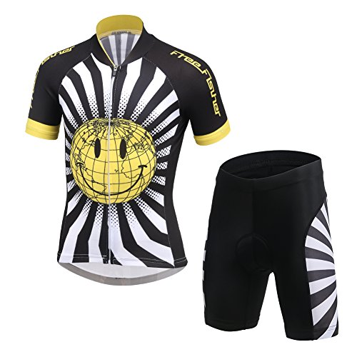 FREE FISHER Kids Boys  Girls  Short Sleeve Cartoon Cycling Jersey Set Top  38932c7de