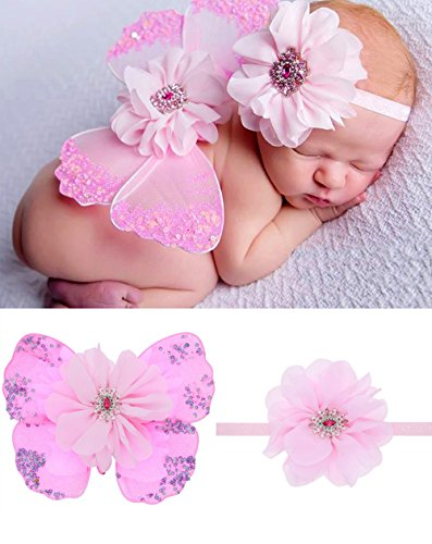 Baby Girls Angel Wings Set Feather Newborn Photography(Pink2) - 1