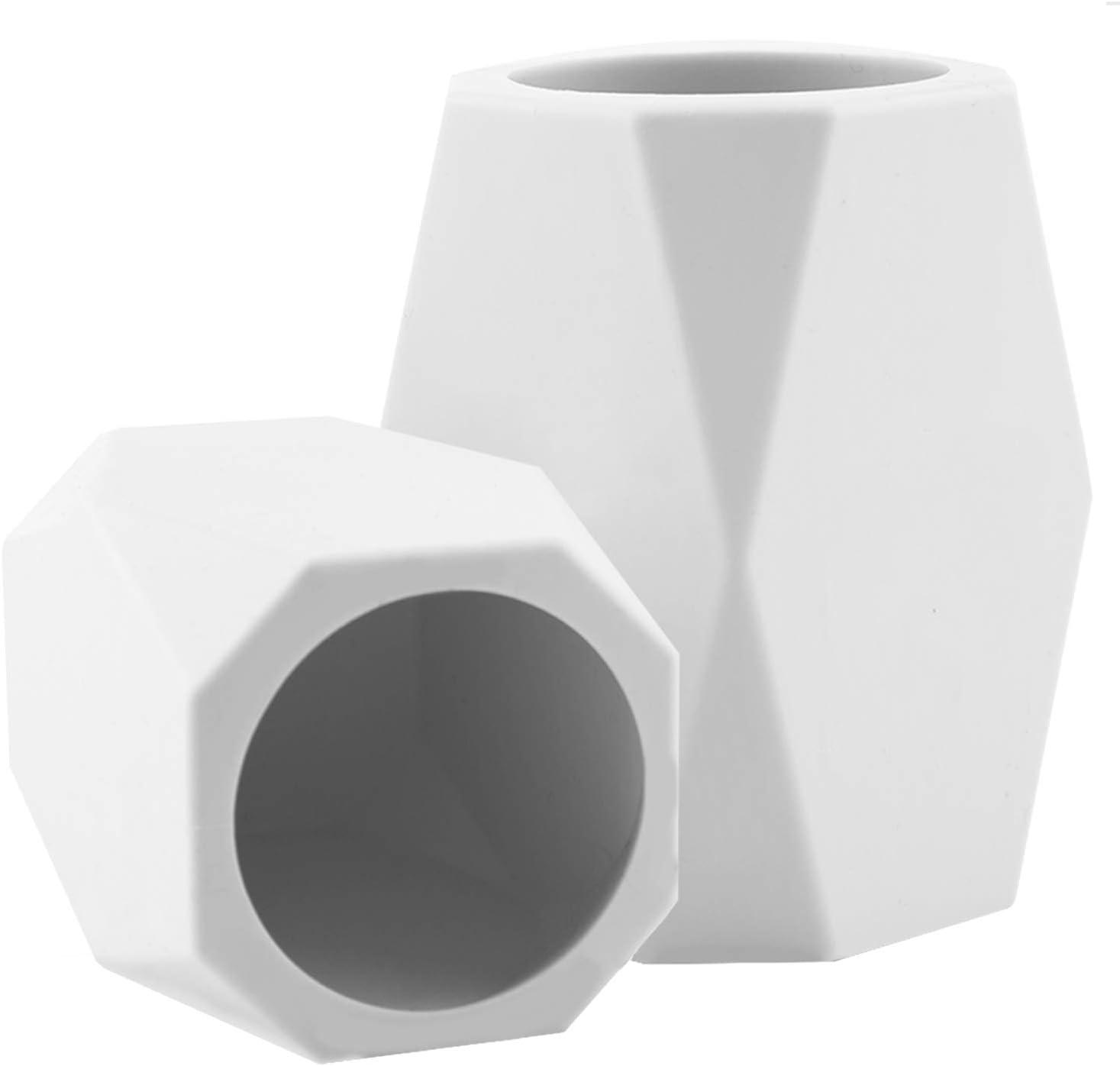 Forniture Per Ufficio AIEX 2 Pezzi Contenitore Per Matite In Silicone Tazza Per Cancelleria Tazza Da Scrivania Geometrica Per Organizzare La Scrivania Archiviazione Di Cancelleria Bianco
