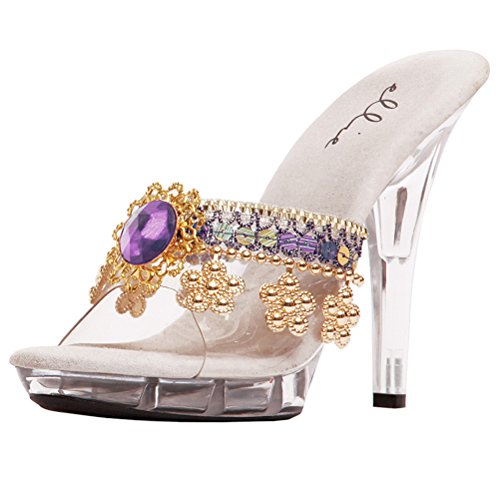 Concubine Costume (5 Inch Womens Sexy High Heel Shoes Mini Platform Style Jeweled Trim Size: 8 Colors: Purple)