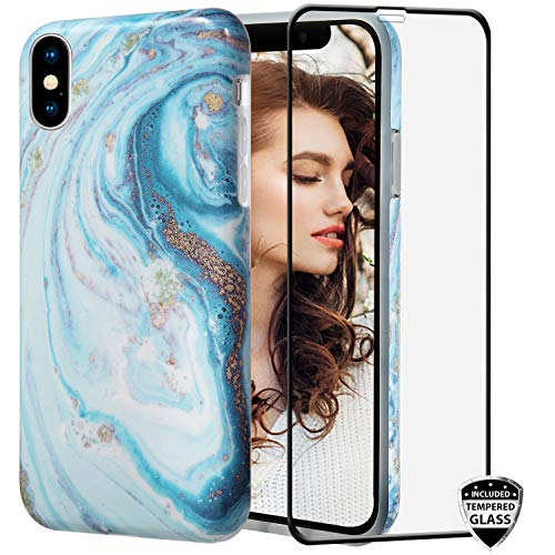 iPhone 10Xs Max case with Glass Screen Protector,REEJAX Cute White Blue Marble for Girls Women Best Protective Slim Fit Clear Bumper Glossy TPU Soft Silicon Cover Phone Case for iPhone Xs Max[6.5inch]