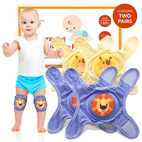 Baby Knee Pads For Crawling - Knee Pads Baby Adjustable Padded Accessories for Infant to Toddler Boys and Girls - Cute Anti-Slip Protectors for Knees - Registry Must-Haves for Babies - 2 Sets Per Box
