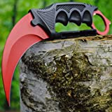 CSGO Doppler Karambit Hawkbill Full Tang Neck Knife w/ABS Sheath - (Limited Edition) Includes FREE CS:GO Dog Tag Necklace (Blood Red)