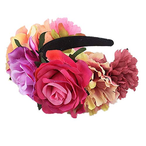 Big Flower Headband - Floral Fall Day of The Dead Flower Crown Festival Headband Rose Mexican Floral Headpiece HC-23 (Pink Fuchsia)