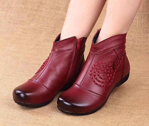 GTVERNH De Flat eight Zapatos Ocho Zapatos Madre Zapatos Y Treinta Redondo Suave Viejos Cashmere Con Fondo Thirty Cuero Casual Botas Confort rq5Cr