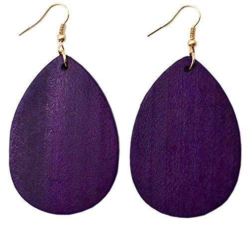 Earrings Casual Purple (StylesILove Womens Girls Fashion Teardrop Shaped Wood Dangle Earrings (Purple))