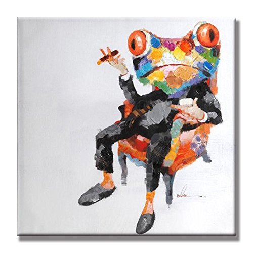 Animal Cool Boss Frog 100% Hand Painted Oil Painting with Stretched Frame Wall Art for Living Room ()