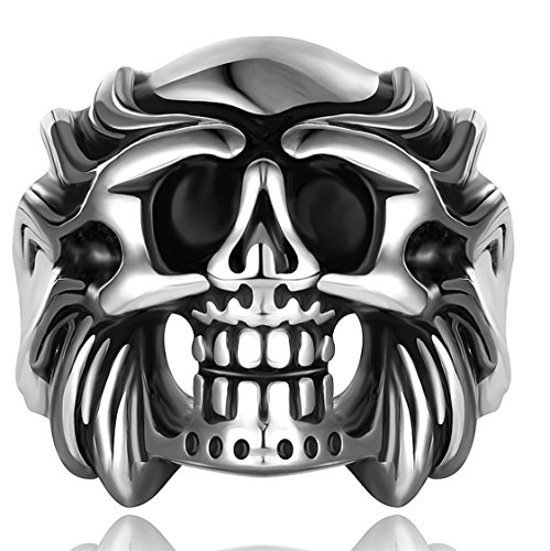 PSRINGS Stainless Steel Head Ring Cool Ring Punk Style Expendables Skull 316L Stainless Steel Ring 9.0