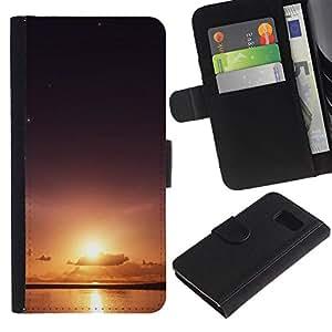 YiPhone /// Tirón de la caja Cartera de cuero con ranuras para tarjetas - Sun & Sea - Sony Xperia Z3 Compact