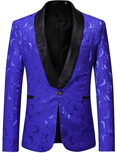 ZEROYAA Men's 1 Button Shawl Collar Wedding Dress Suit Rose Jacquard Dinner Jacket Prom Tuxedo ZZST02 Royal Blue Large ()