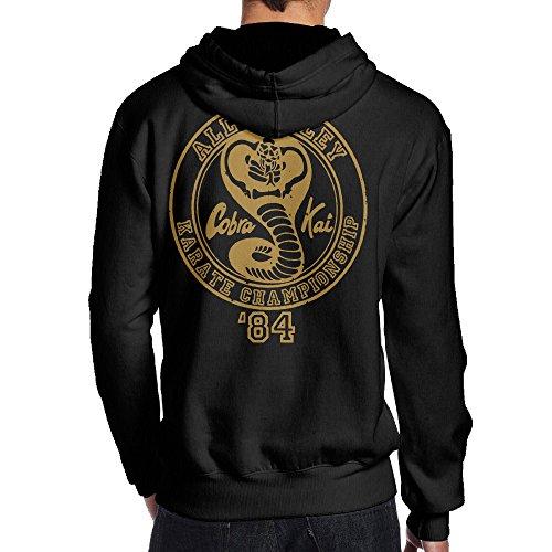 Psy Karate Black Print Hoodies For Men Size L Black