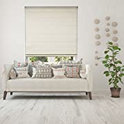 Calyx Interiors Blackout Ivory Cordless Fabric Roman Shade, 34  W x 60  H