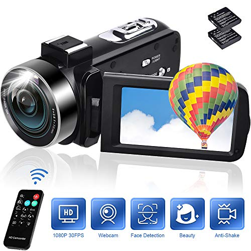 Camcorder 18X Digital Zoom Video Camera 1080P 30FPS Vlogging Camera Digital Camera with Remote Control 3″ IPS 270° Rotation Screen