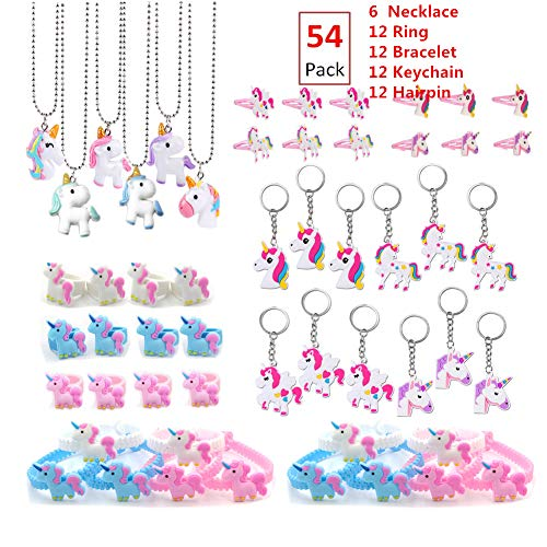 54Pack Rainbow Unicorn Party Supplies,Perfect Unicorn Gifts-Unicorn Necklace Novelty Unicorn Keychain Bulk Unicorn Bracelet Kit Ring Unicorn Hairpin, Unicorn Party Favors for Girls Birthday