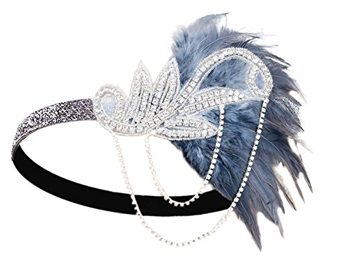 1920s Gatsby Flapper Feather Headband 20s accessories Crystal Beaded Wedding Headpiece (Black&Grey Feather) for $<!--$11.99-->